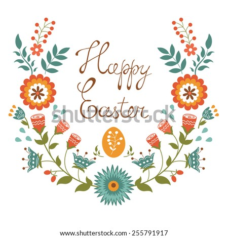 Easter card with floral wreath. Colorful vector illustration - stock vector
