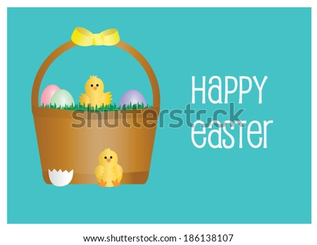 Easter Card with Hatchlings, Easter Basket and Easter Eggs - stock vector
