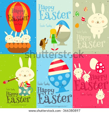 Easter Cards Set. Mini Posters Collection. Vector Illustration. - stock vector
