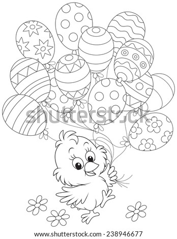 Easter Chick with balloons - stock vector