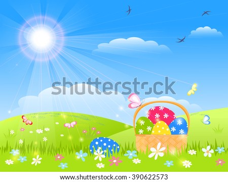 easter childish card -  basket with colorful eggs,  green grass with flowers, butterfly, bird, blue sky with sunny rays, vector illustration - stock vector