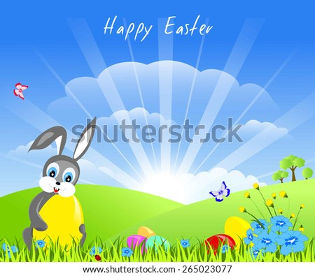easter childish card - joy bunny with yellow egg sitting on green grass, near - flowers and several eggs, butterfly, trees, blue sky with sunny rays, vector illustration - stock vector