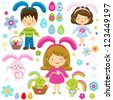 easter children with bunnies costumes - stock vector