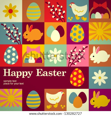 Easter concept vector background - stock vector