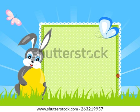 easter congratulation card - bunny with yellow egg sitting on green grass, near - green textile napkin with place for your text, butterfly, blue sky with sunny rays, vector illustration - stock vector