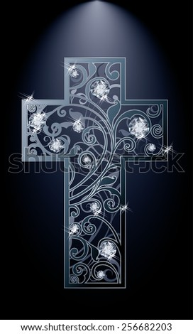 Easter cross with diamonds flowers, vector illustration - stock vector