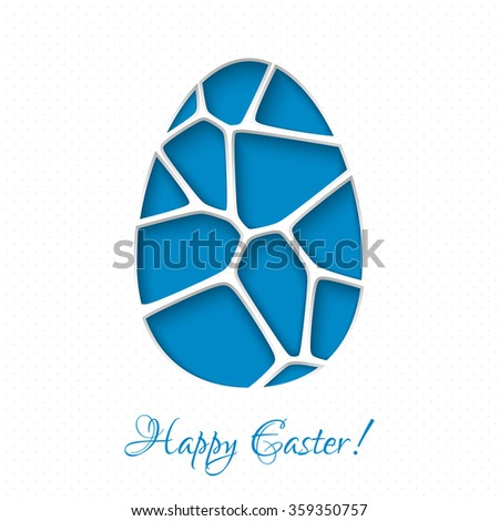 Easter 3D paper card with egg in blue color. Vector illustration EPS10. - stock vector