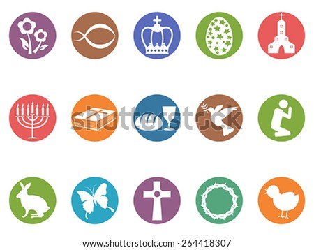easter day button icons set - stock vector