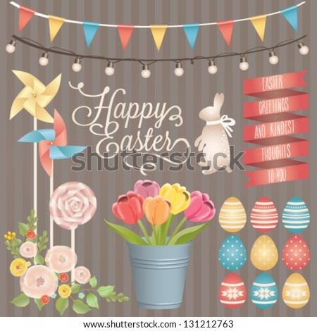 Easter design elements collection. Vector set - stock vector