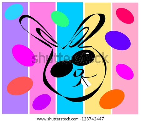 easter design with cool bunny rabbit - stock vector