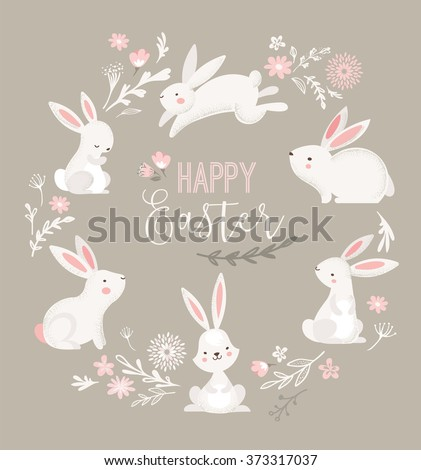 Easter design with cute banny and text, hand drawn illustration  - stock vector