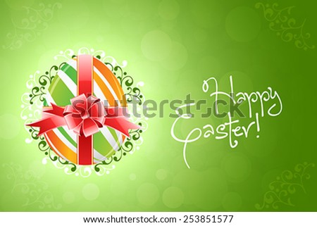 Easter Egg Background with Ribbon and Bow - stock vector