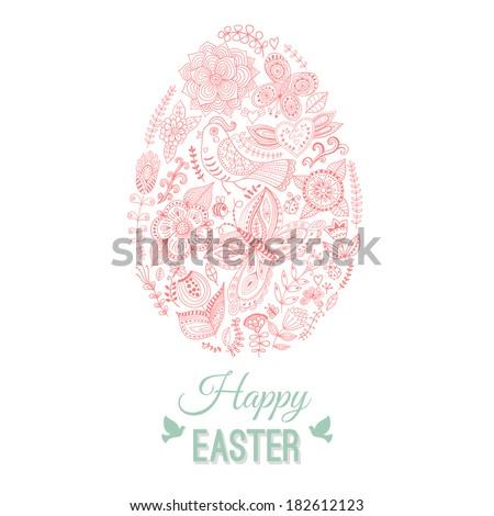 Easter egg card on wood, floral Easter egg background. Happy Easter card. Happy easter cards illustration with easter egg. Doodles ornament easter egg background - stock vector