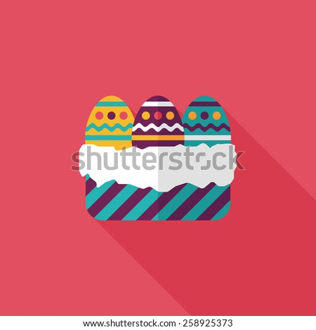 easter egg flat icon with long shadow,eps10 - stock vector