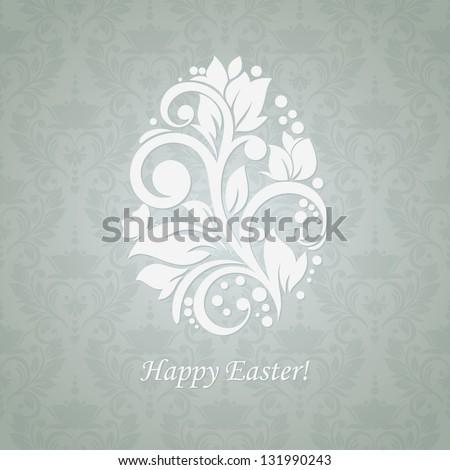 Easter egg floral background. Modern card for invitation. - stock vector