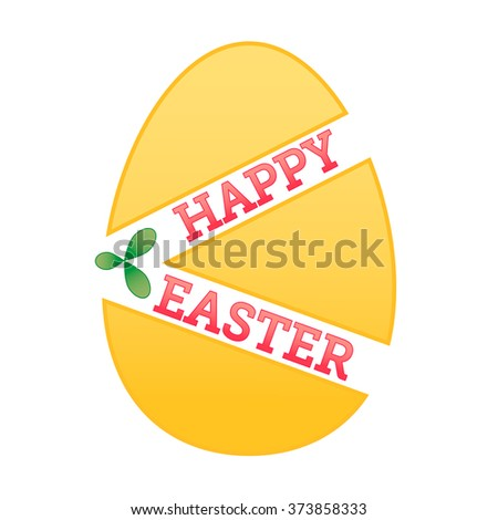 Easter egg. Happy Easter inscription. Vector background. Easter greeting card. Abstract easter shape with Happy Easter text and green leaf. Logo symbol. - stock vector