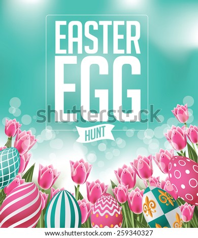 Easter egg hunt design with tulips EPS 10 vector royalty free stock illustration for greeting card, ad, promotion, poster, flier, blog, article, social media, marketing - stock vector