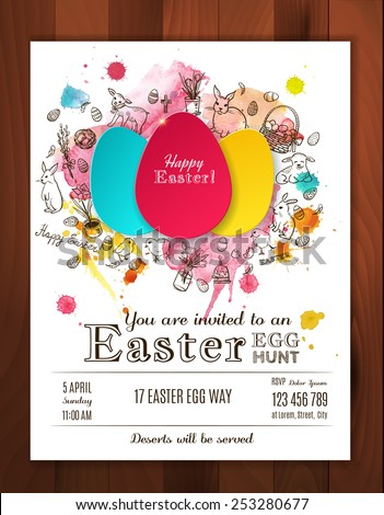 Easter egg hunt invitation. Paper eggs  with hand drawn doodle Easter symbols and watercolor splashes. Easter vector background. Egg stickers.   - stock vector