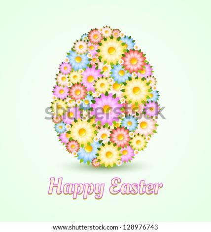 Easter egg made of flowers isolated on light green background - stock vector