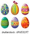 Easter egg set - stock vector