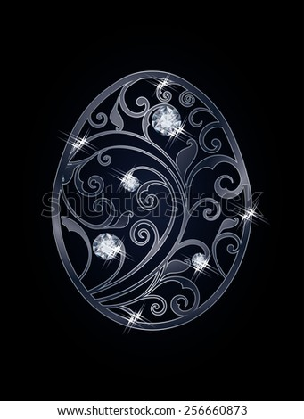 Easter egg with diamonds, vector illustration - stock vector