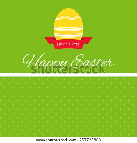 Easter egg with ribbon banner and background with polka dots andinscription Happy Easter - stock vector