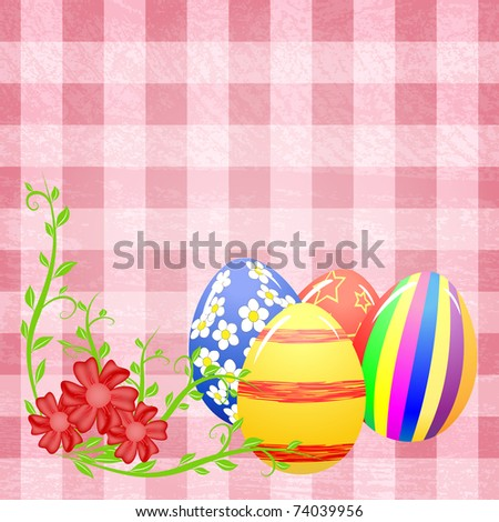 Easter eggs and flowers on the pink splotchy background - stock vector