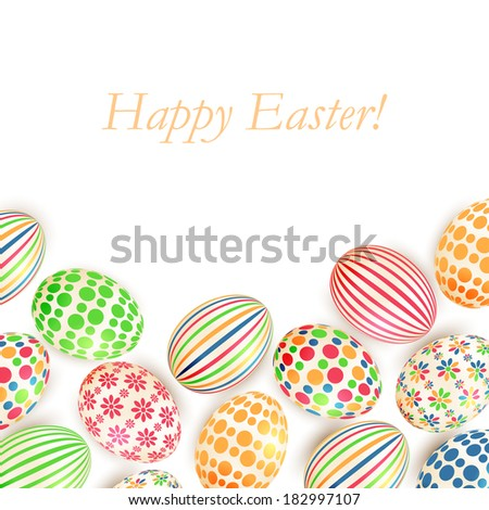 Easter eggs colorful patterns isolated on white background - stock vector