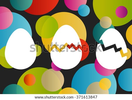 Easter eggs concept vector illustration abstract spring color background - stock vector