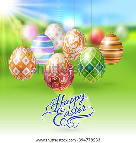 Easter Eggs Hanging on a String on Green Blur Background with Sun Light - stock vector