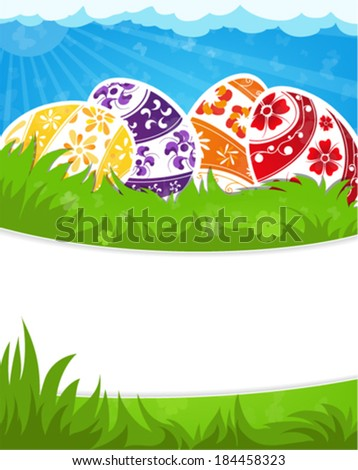 Easter eggs in a grass on a spring meadow - stock vector