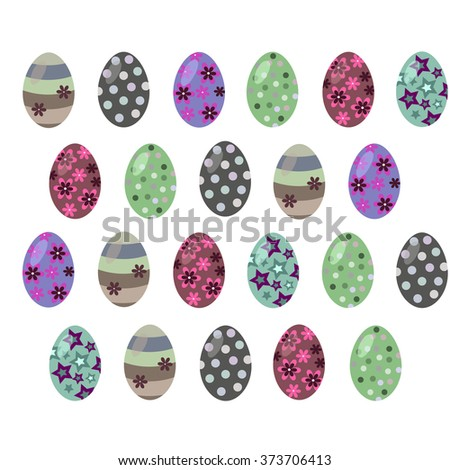 Easter eggs on a light background in dark colors - stock vector