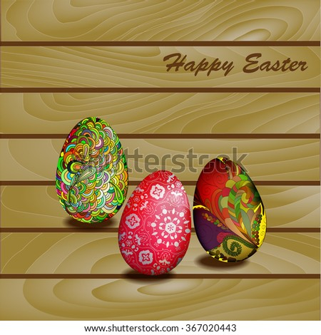Easter eggs on a wooden wall background. Vector EPS10 - stock vector