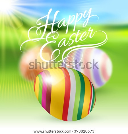 Easter Eggs on Green Blur Background with Sun Light - stock vector