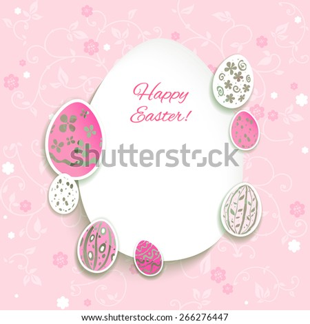 Easter eggs on pink background. Place for text. - stock vector