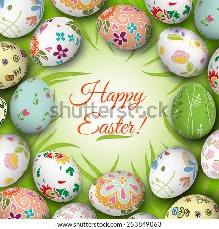 Easter eggs on the grass. Vector. Holiday background - stock vector