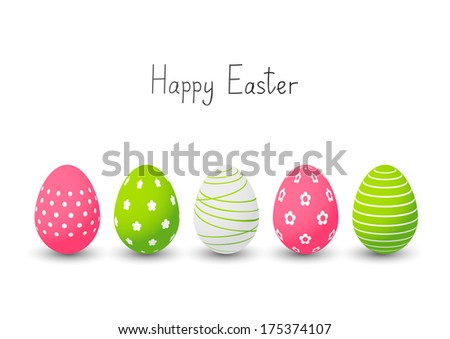 Easter eggs on white background - stock vector