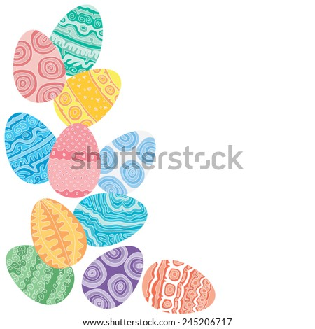 Easter eggs on white background, vector illustration - stock vector