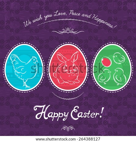 Easter eggs painted with rabbit, hen and chicken. Purple  floral background and inscription with text Happy Easter. Decorative composition suitable for invitations, greeting  cards, flyers, banners. - stock vector