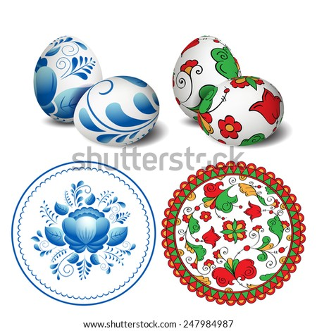 Easter eggs. Round vector folk pattern. Happy Easter. Vector objects. 3D. Realistic Easter eggs. Vector background. Russian painting.  - stock vector