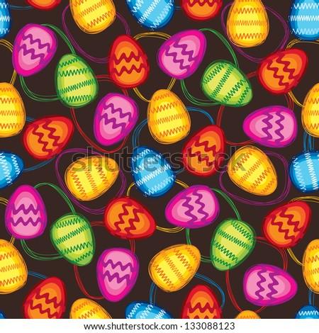 Easter eggs seamless bright spring pattern on dark background - stock vector