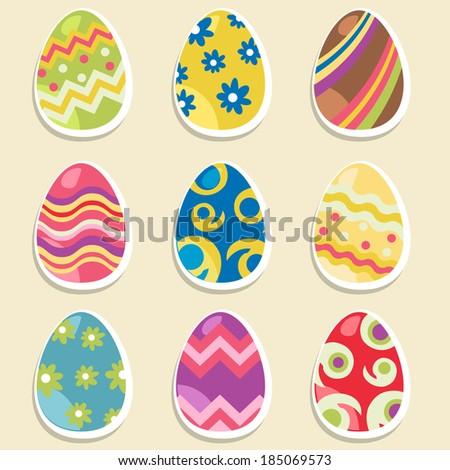 Easter eggs set - stock vector