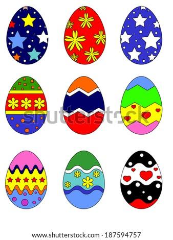 Easter eggs,set. - stock vector