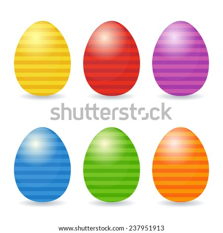 Easter eggs set. Striped eggs in bright colors. - stock vector