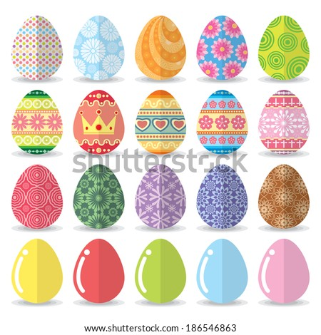 Easter eggs set. Vector illustration. flat design - stock vector
