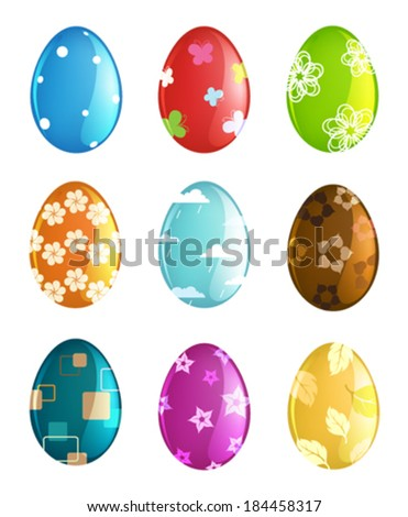 Easter eggs set with abstract pattern on white background - stock vector
