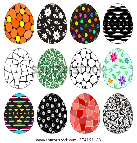 Easter eggs - Twelve colorful and monochrome Easter eggs with decorative patterns for egg hunt. Isolated on white. - stock vector