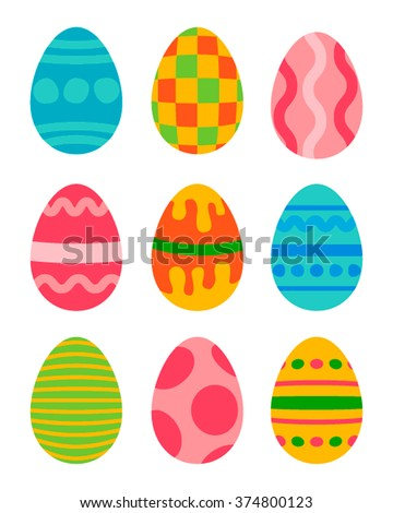 Easter eggs vector icons flat style. Easter eggs isolated vector. Easter eggs for Easter holidays design. Easter eggs icons flat modern style. Easter eggs isolated on white background. Easter eggs - stock vector