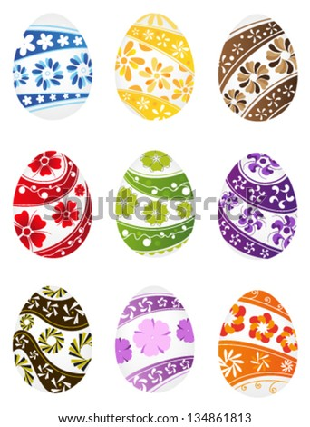 Easter eggs with bright floral pattern on white background - stock vector