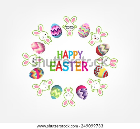 easter eggs with bunny funny around greeting card - stock vector